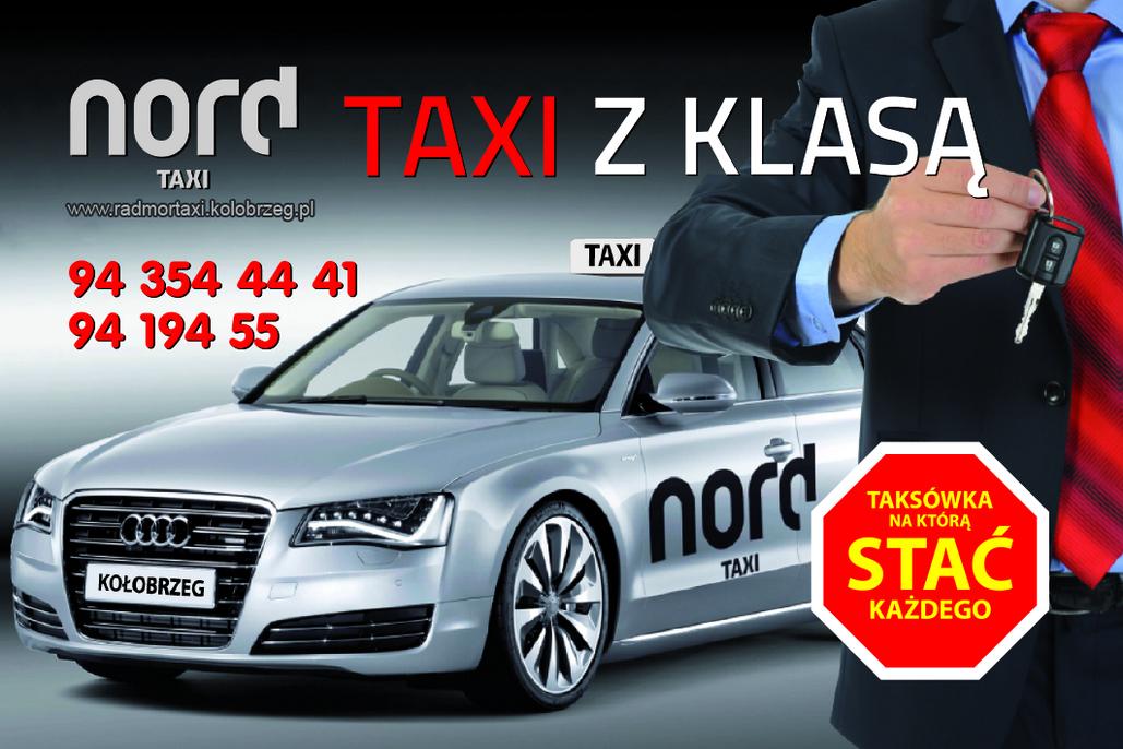 Wizytówka 24h TAXI tel 94-196-28. Nord Taxi Kołobrzeg